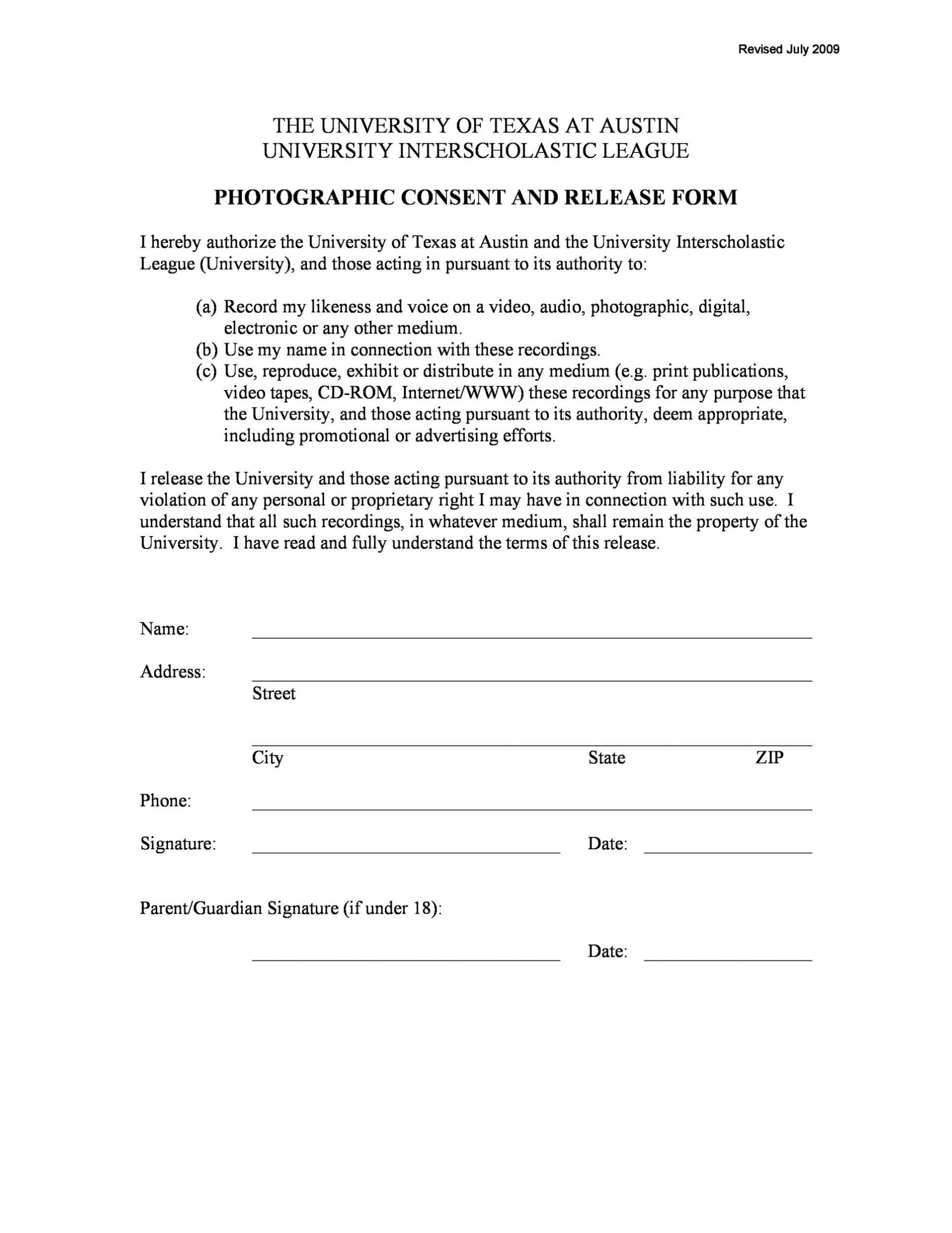 Photo Release Form Template Addictionary