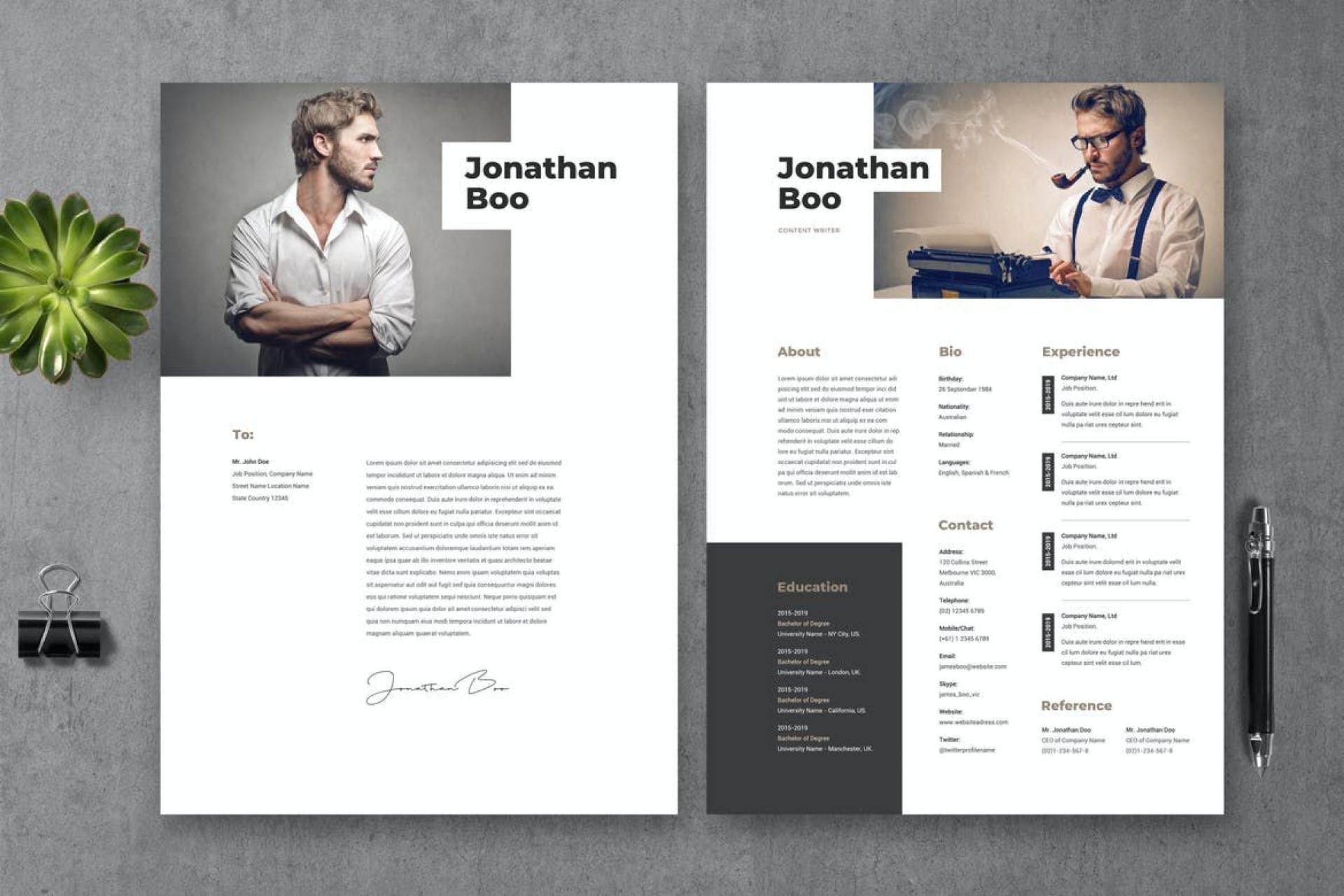 007 Singular Photoshop Cv Template Free Idea  Modern Psd Resume Download1920
