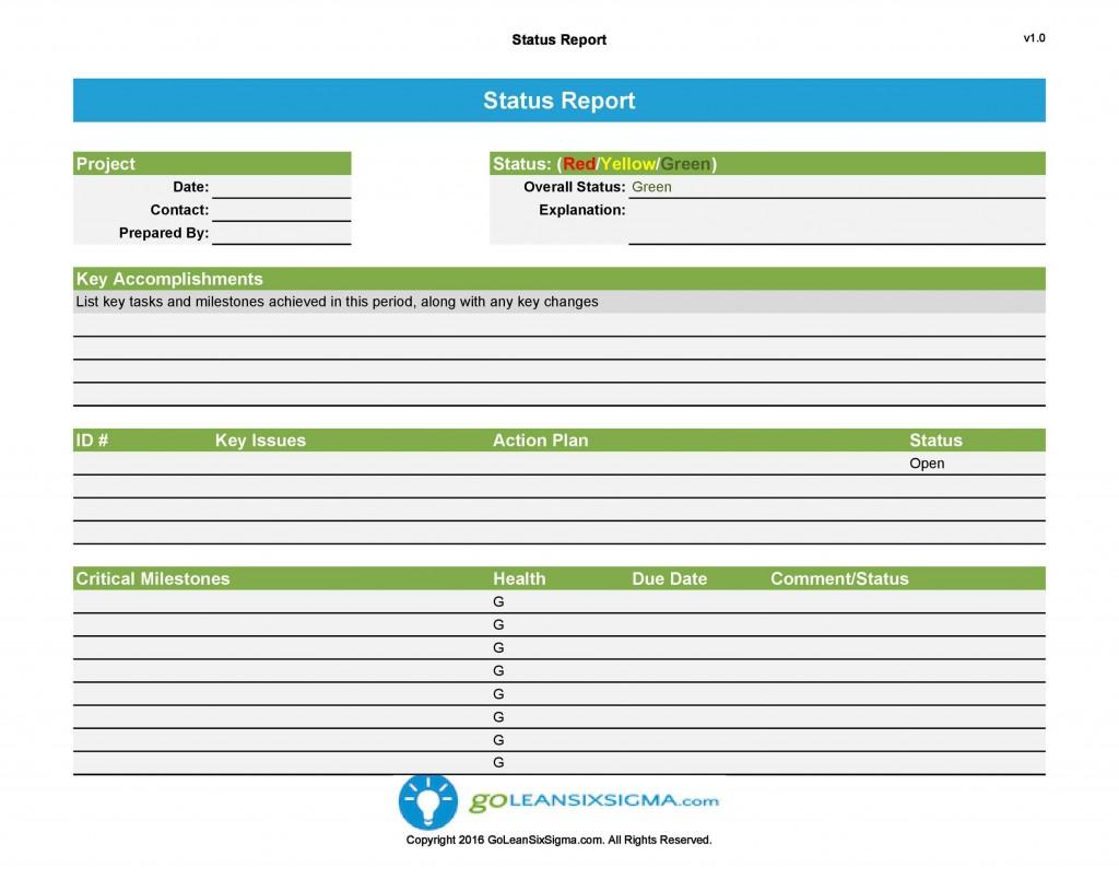 007 Singular Project Management Progres Report Template Excel Sample  StatuLarge