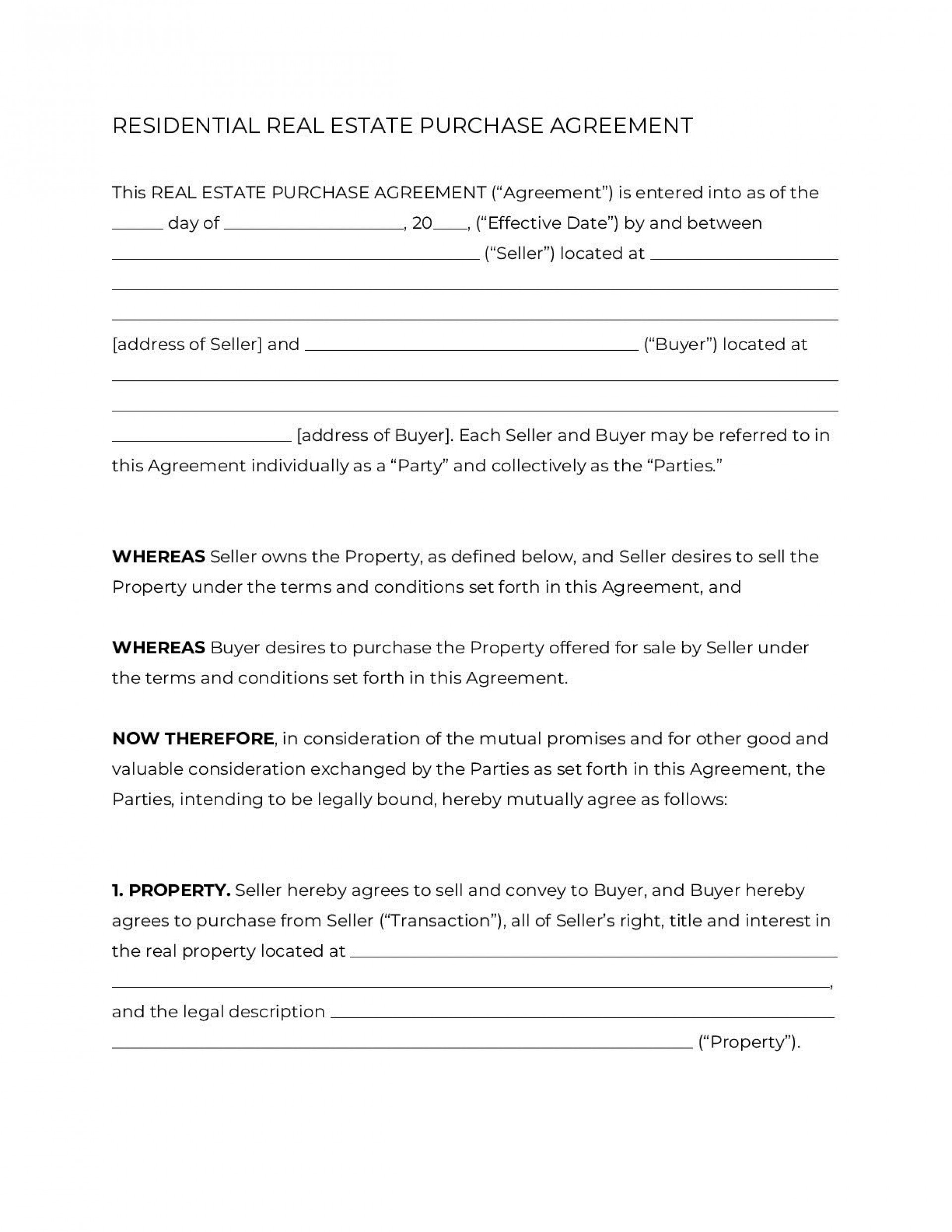 007 Singular Residential Purchase Agreement Template Highest Clarity  California Form Free1920
