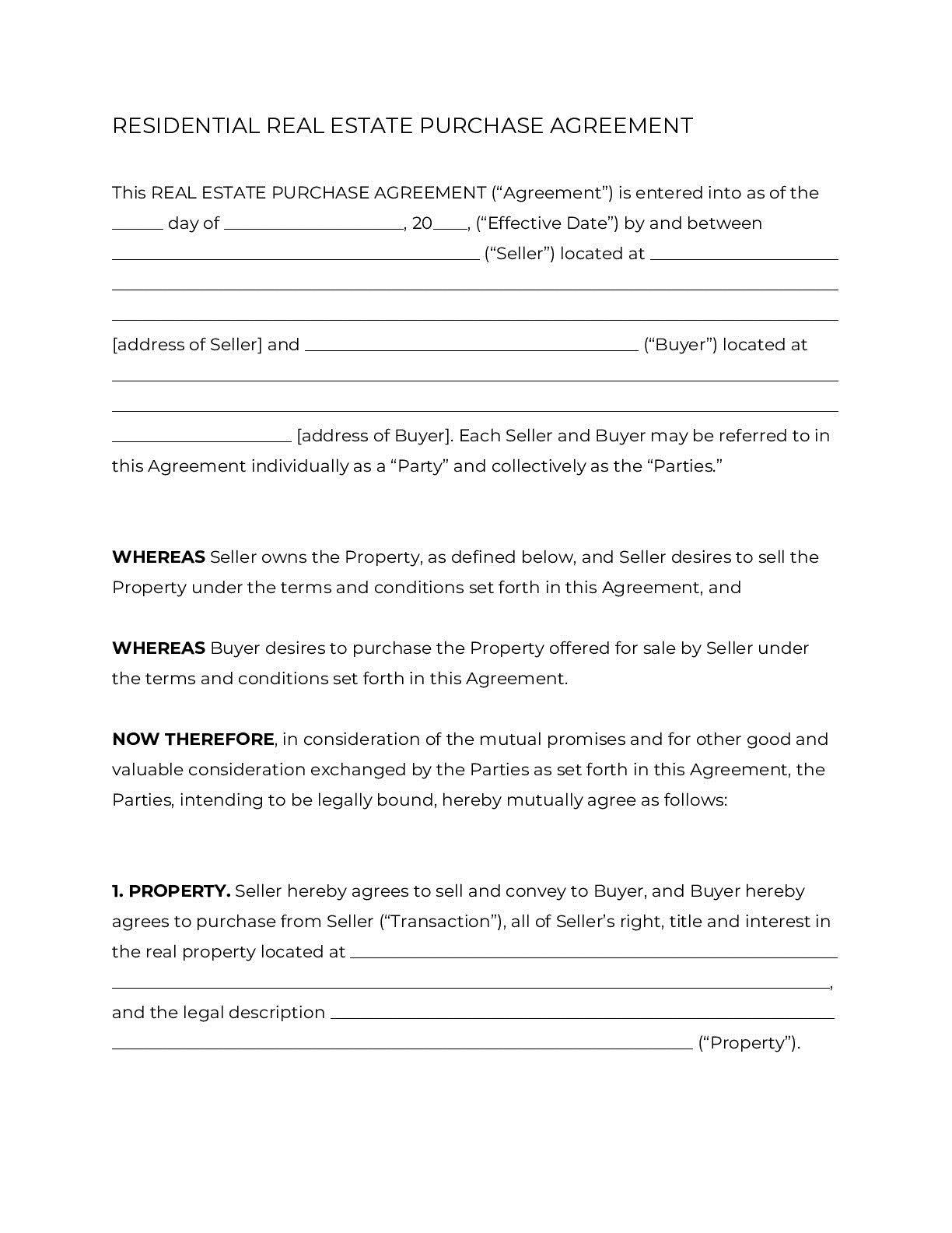 007 Singular Residential Purchase Agreement Template Highest Clarity  California Form FreeFull