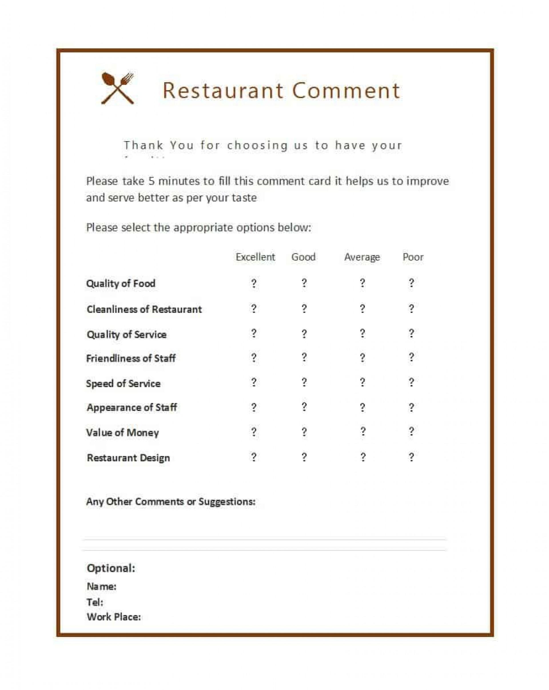 007 Singular Restaurant Comment Card Template For Word Design 1920