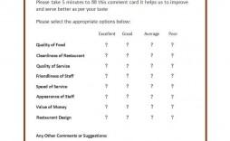 007 Singular Restaurant Comment Card Template For Word Design