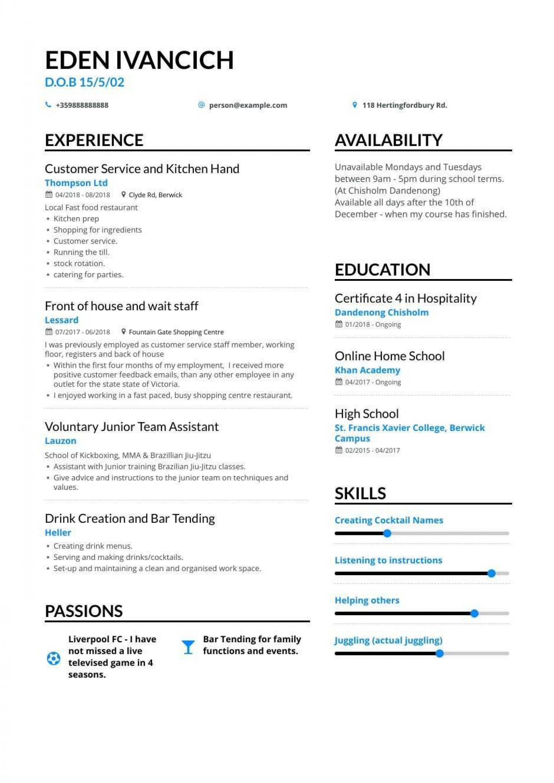 007 Singular Resume Template For Teen Inspiration  Teenager First Job Australia1920