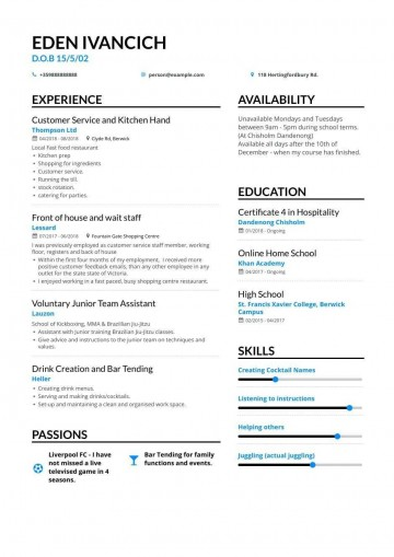 007 Singular Resume Template For Teen Inspiration  Teenager First Job Australia360
