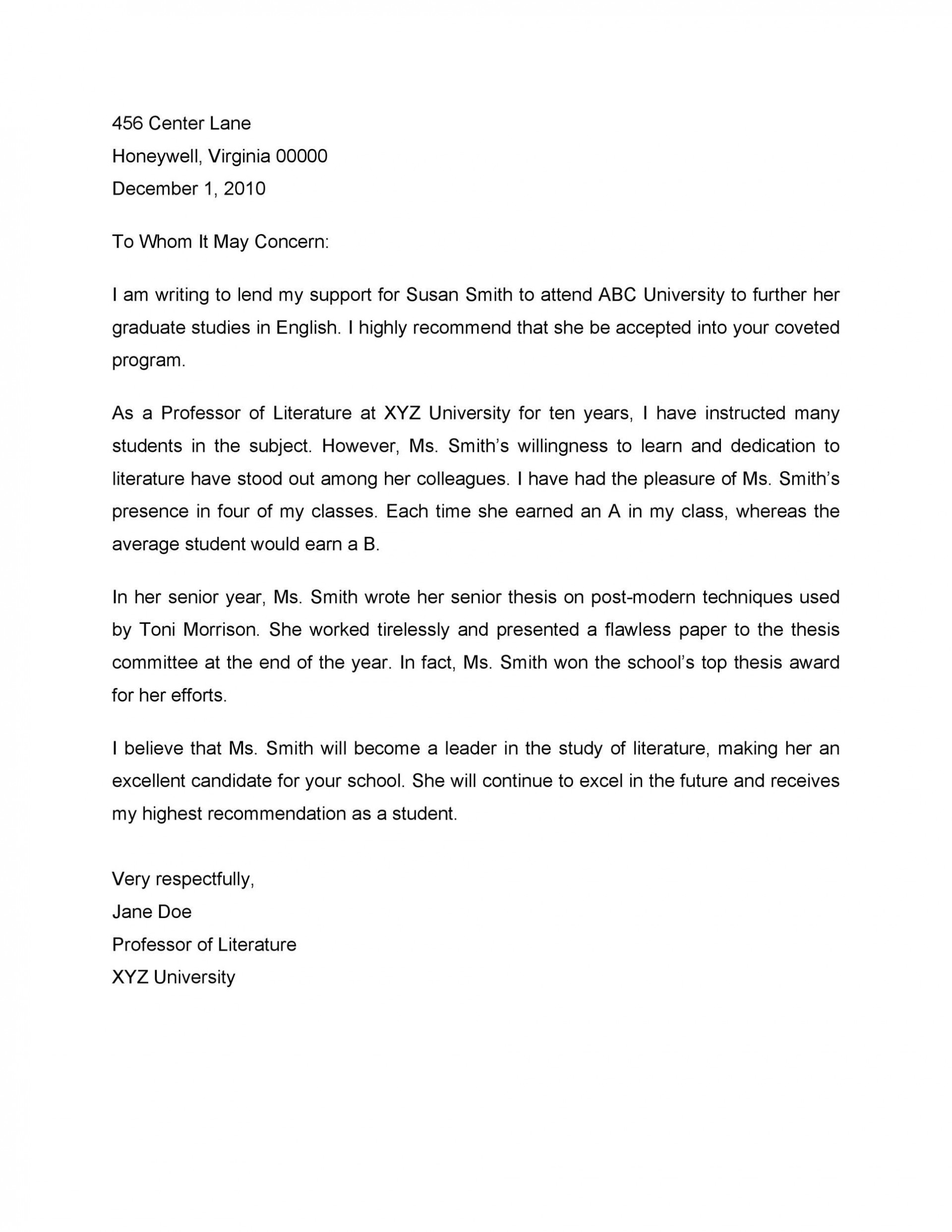 Sample Recommendation Letter For Internship from www.addictionary.org