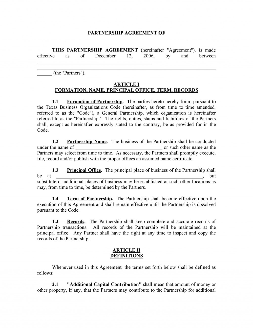 007 Staggering Busines Partnership Contract Template Example  Agreement Free Nz WordLarge