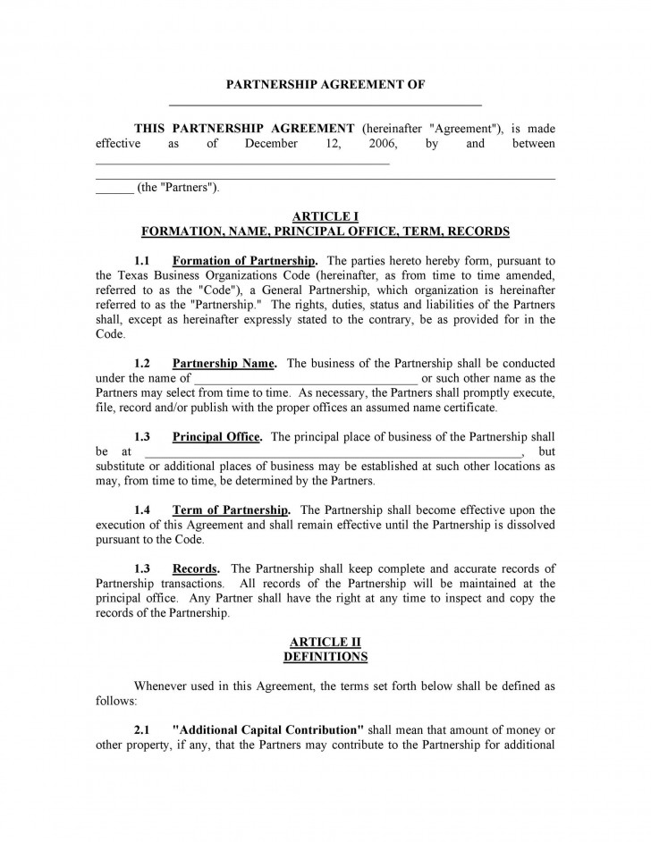 007 Staggering Busines Partnership Contract Template Example  Agreement Free Nz Word728