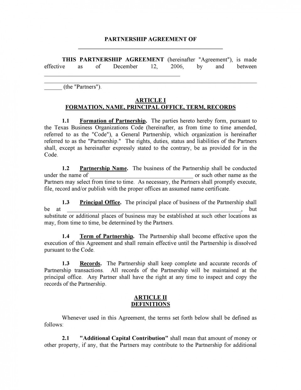 007 Staggering Busines Partnership Contract Template Example  Agreement Free Nz Word960
