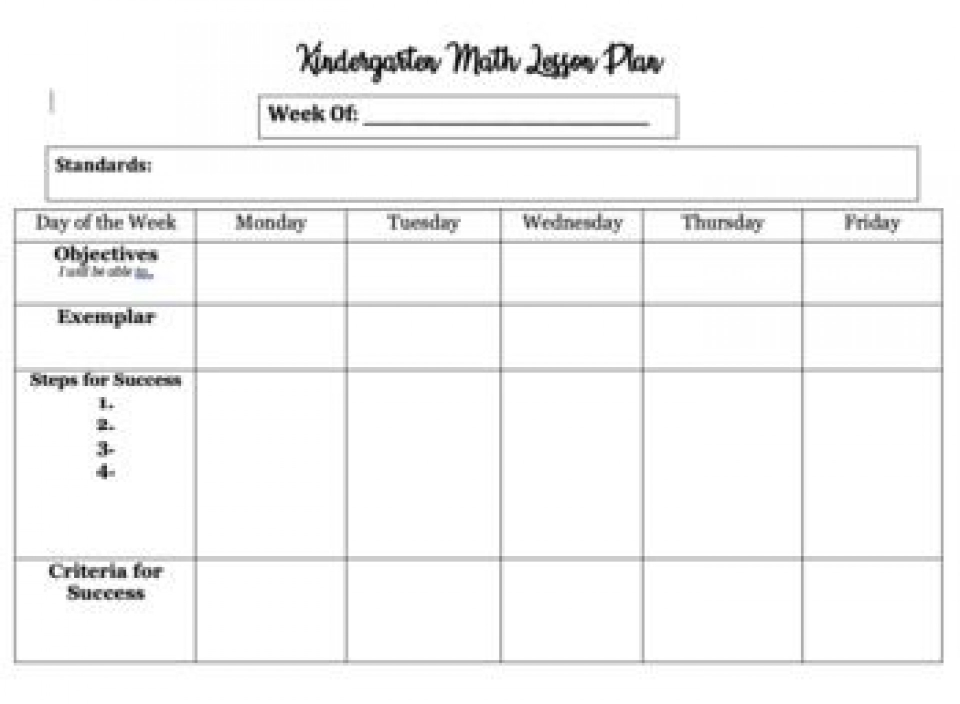 007 Staggering Editable Lesson Plan Template Kindergarten Example  Free1920