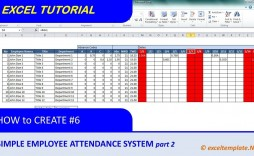 007 Staggering Employee Attendance Record Template Excel Photo  Free Download With Time