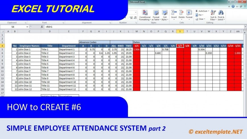 007 Staggering Employee Attendance Record Template Excel Photo  Free Download Daily