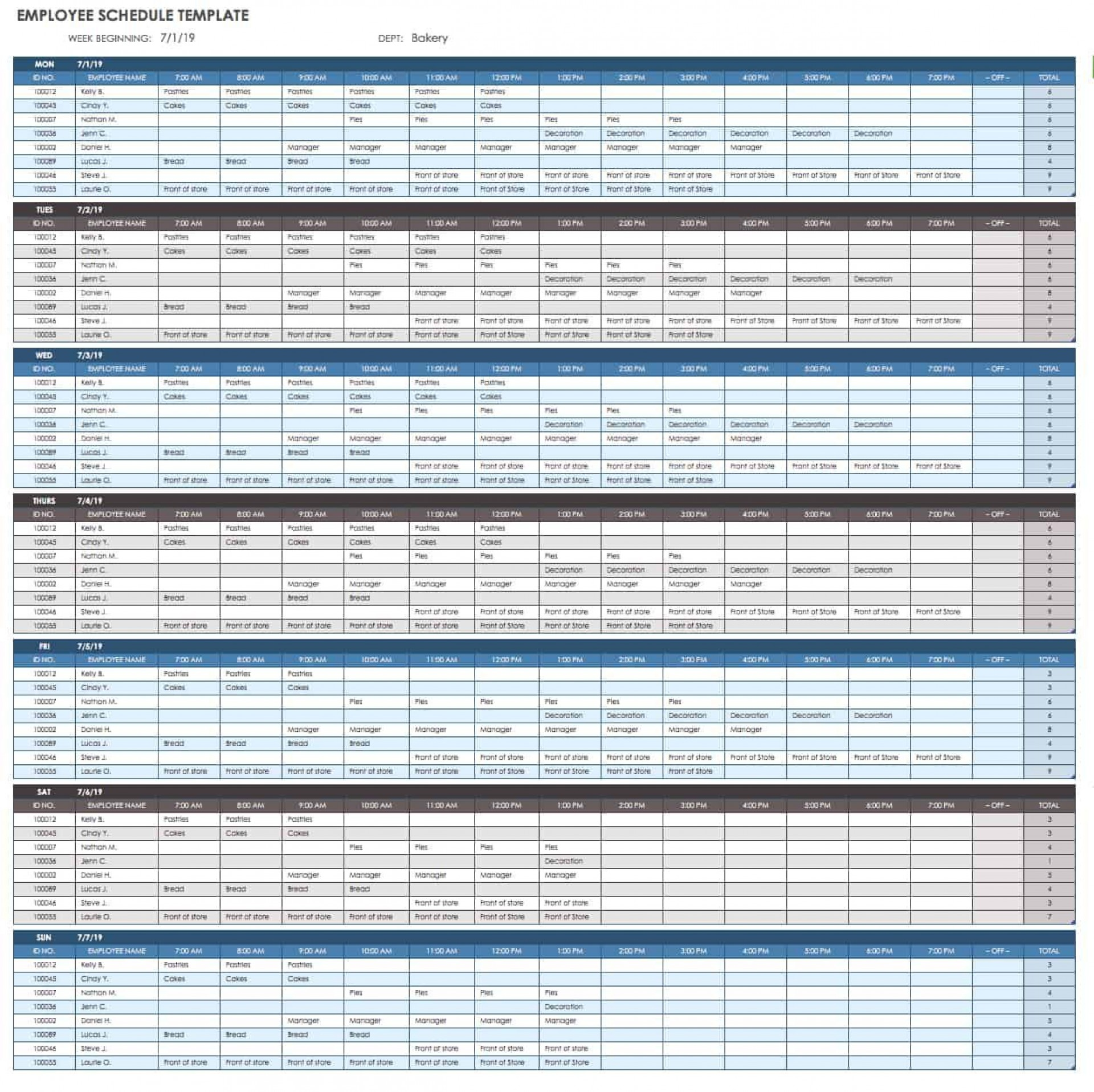 007 Staggering Employee Calendar Template Excel Sample  Staff Leave Vacation Planner1920