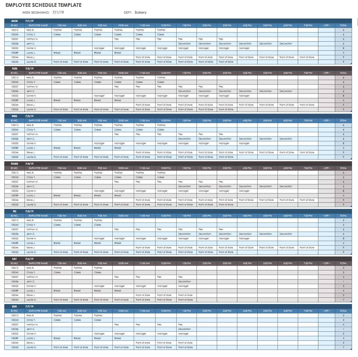 007 Staggering Employee Calendar Template Excel Sample  Staff Leave Vacation PlannerFull