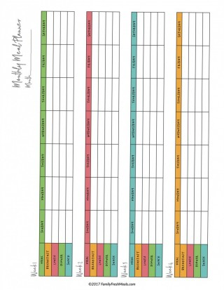 007 Staggering Meal Plan Printable Pdf Idea  Worksheet Downloadable Template Sheet320