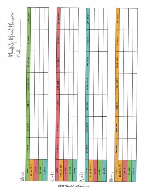 007 Staggering Meal Plan Printable Pdf Idea  Worksheet Downloadable Template Sheet480