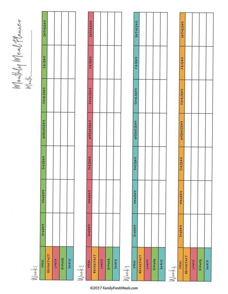 007 Staggering Meal Plan Printable Pdf Idea  Worksheet Downloadable Template SheetFull