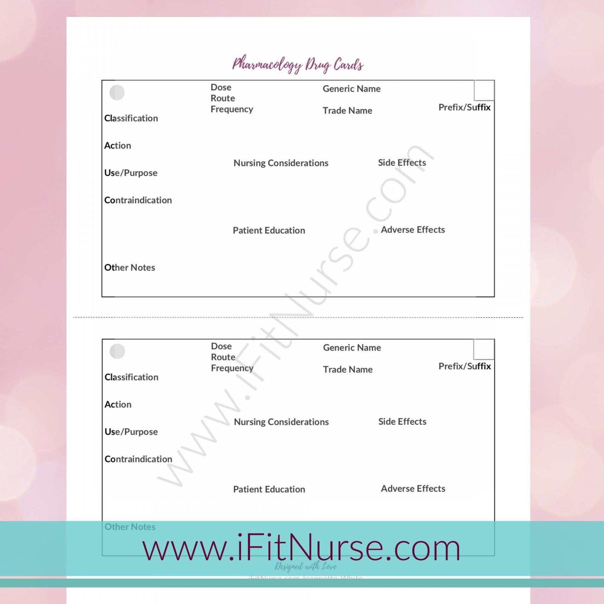 007 Staggering Nursing Drug Card Template Concept  School Download Printable1920