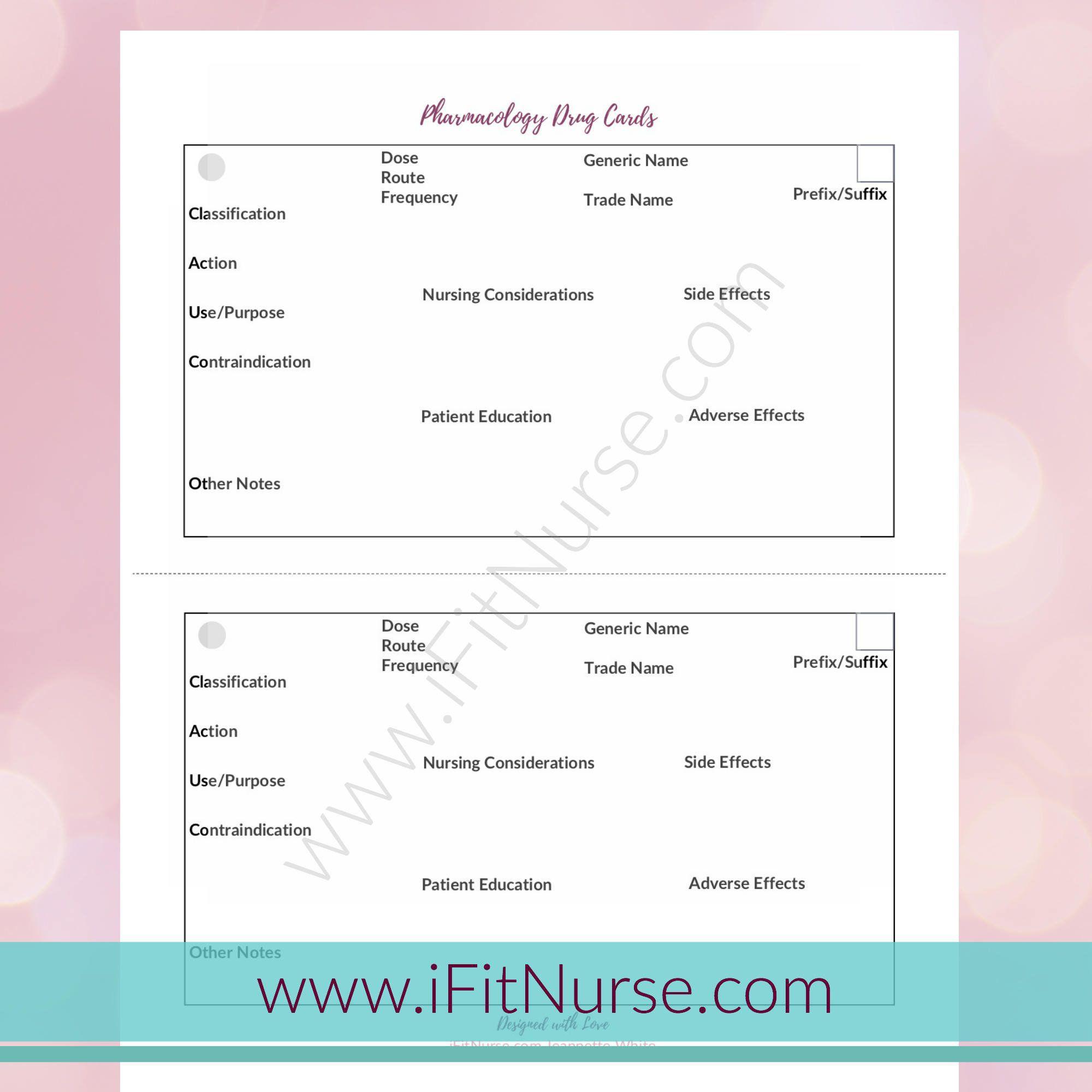 007 Staggering Nursing Drug Card Template Concept  School Download PrintableFull