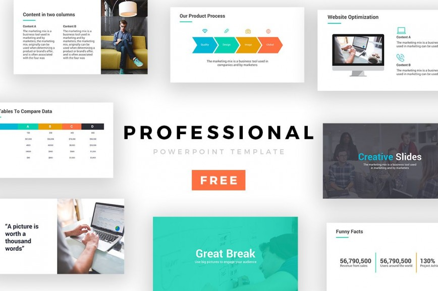 007 Staggering Professional Powerpoint Template Free Concept  Download Education Presentation 2019