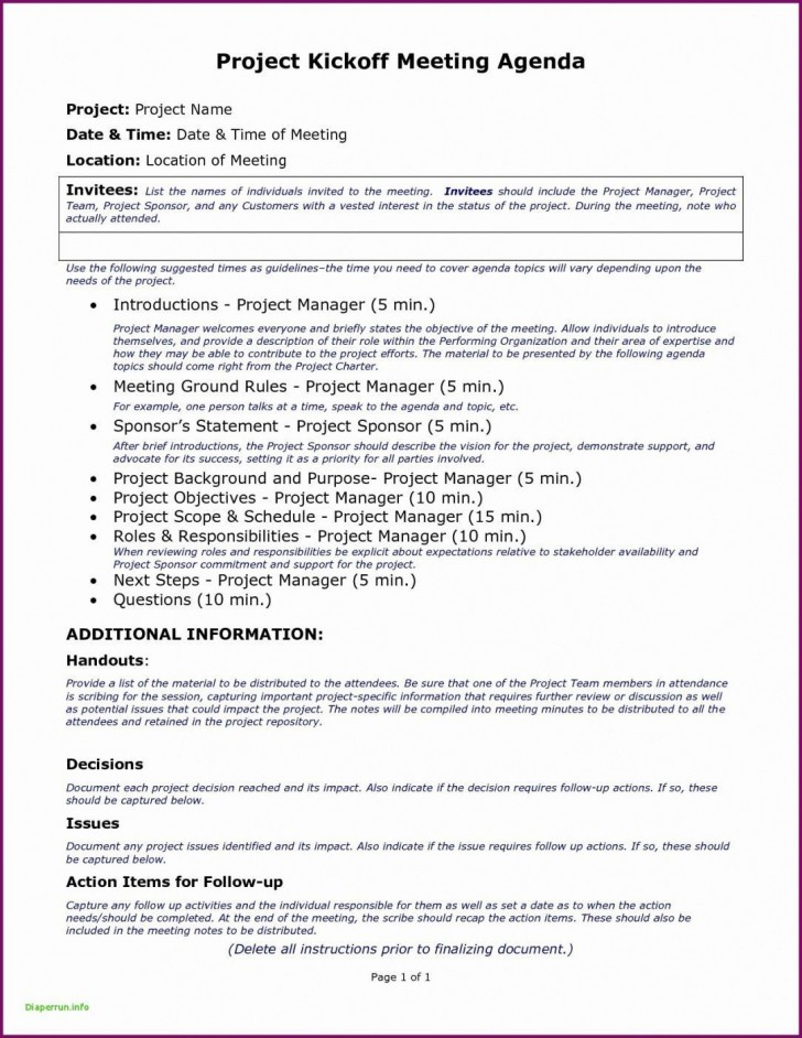 007 Staggering Project Management Kickoff Meeting Agenda Template Highest Quality 728