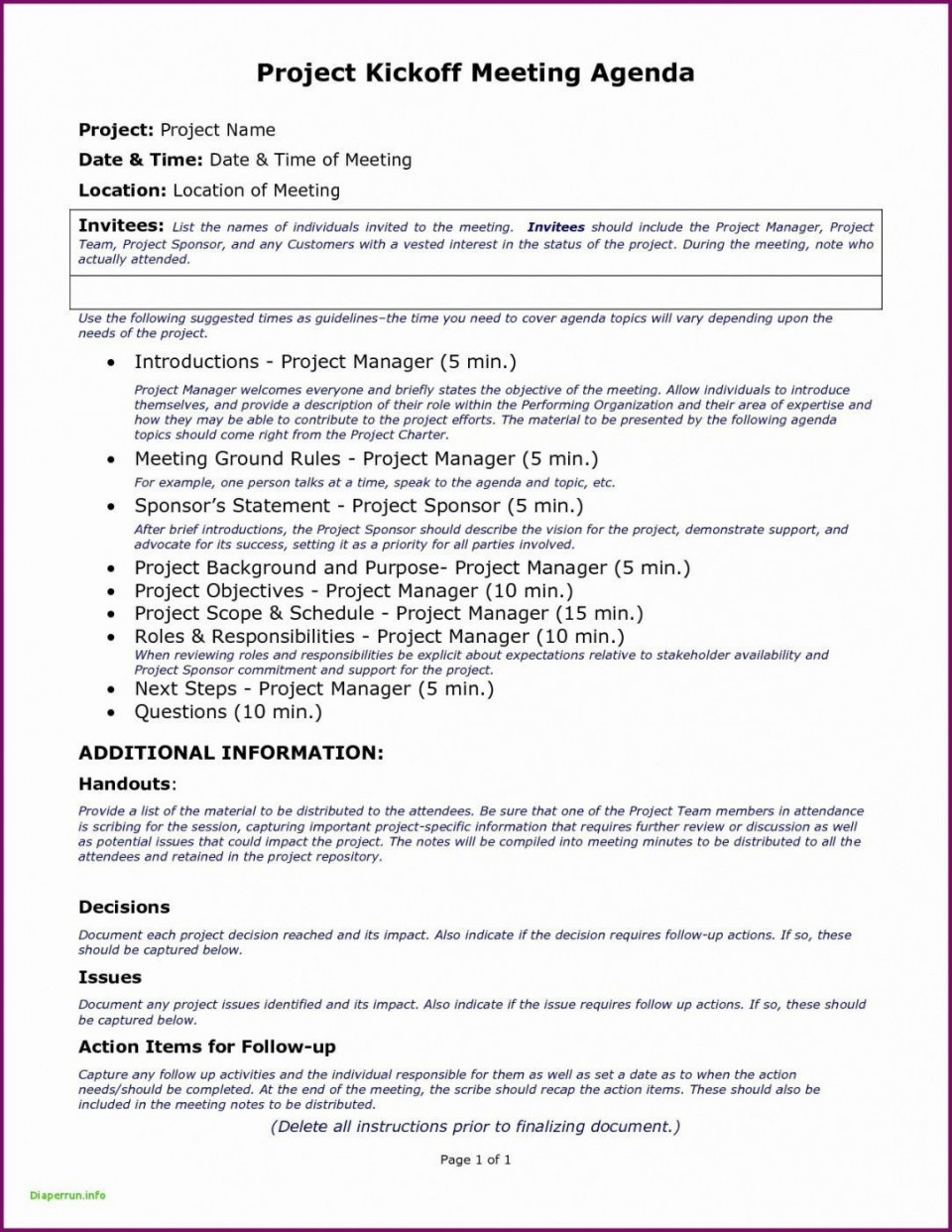 007 Staggering Project Management Kickoff Meeting Agenda Template Highest Quality 960