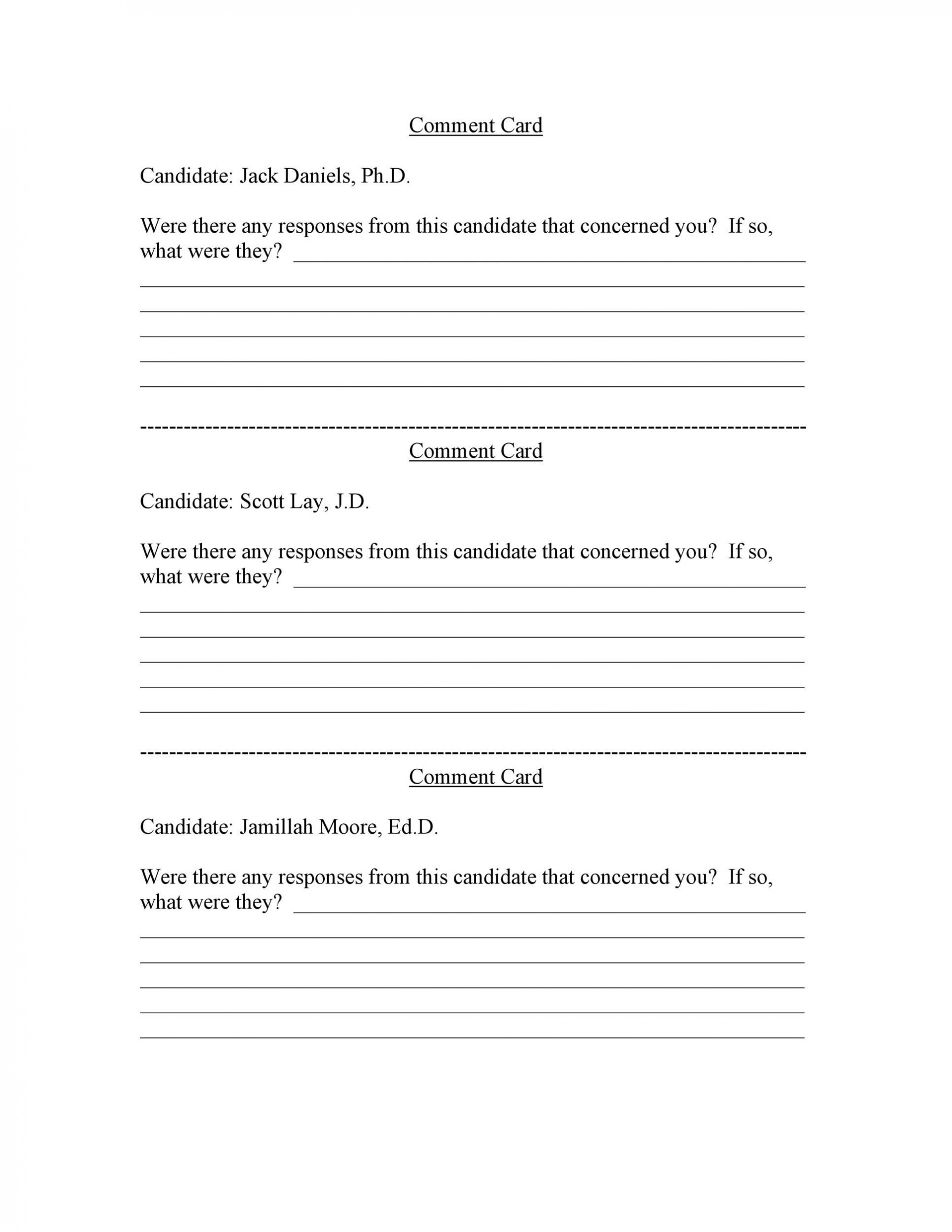 007 Staggering Restaurant Customer Comment Card Template Highest Clarity  For Word Free1920