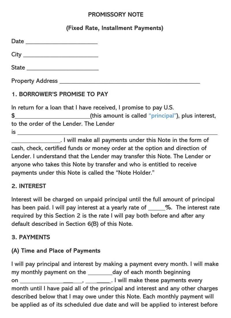 007 Staggering Unsecured Promissory Note Template Photo  California WordFull