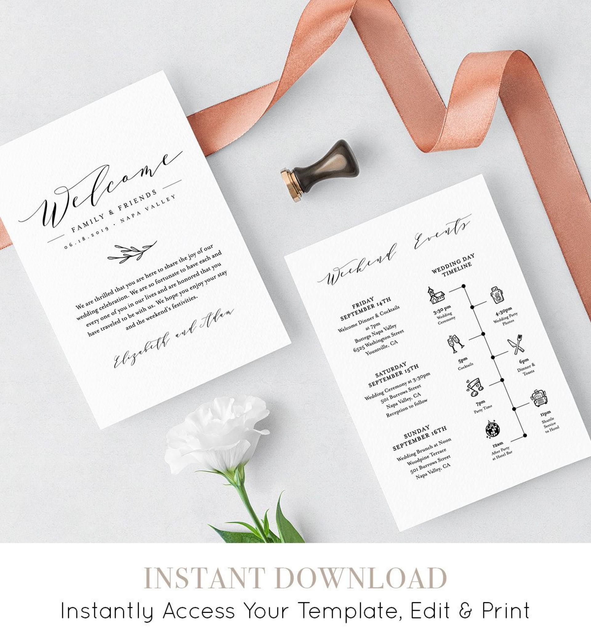 007 Staggering Wedding Welcome Bag Letter Template Example  Free1920