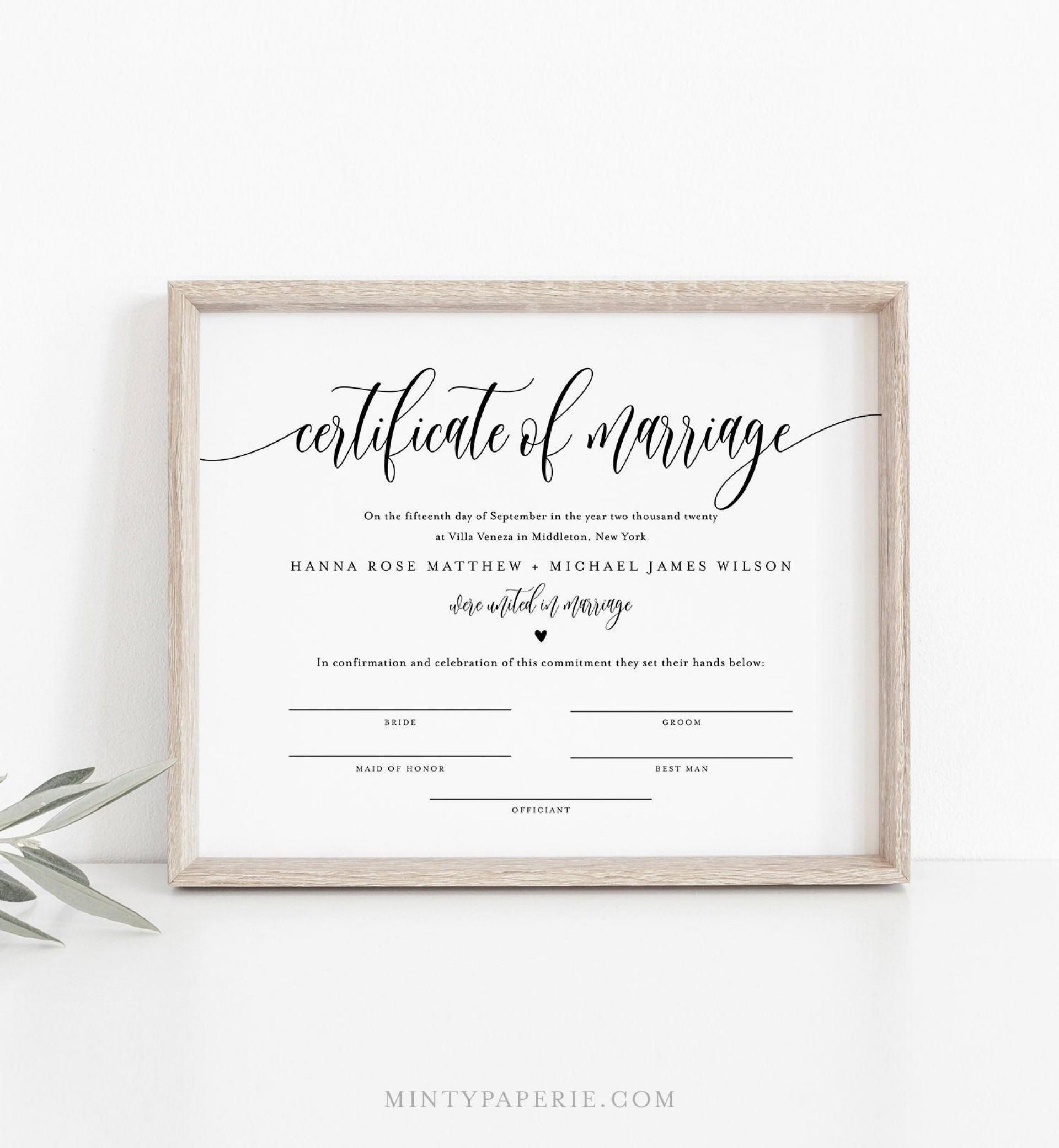 007 Stirring Certificate Of Marriage Template Sample  Word Australia1920
