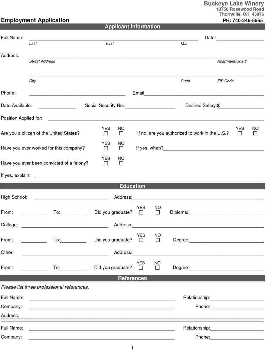 007 Stirring Free Employment Application Template Design  EmployeeFull