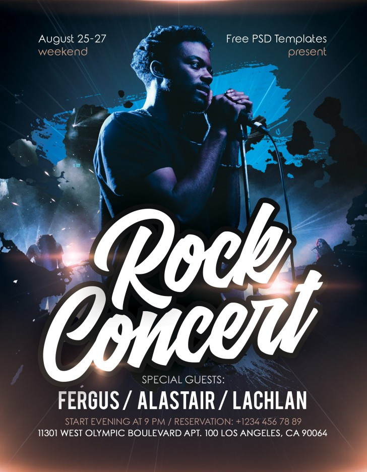 007 Stirring Free Rock Concert Poster Template Psd High Definition 728