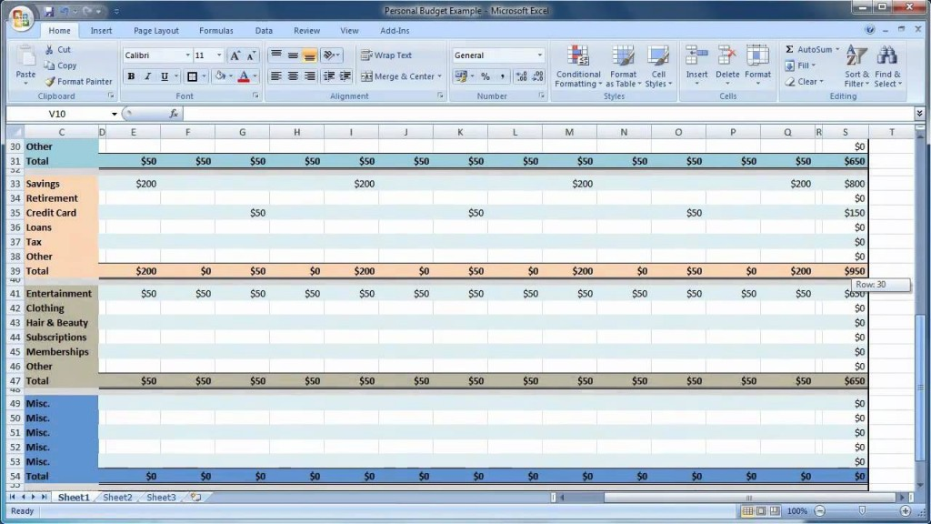007 Stirring Monthly Budget Template Excel 2007 High Definition  PersonalLarge
