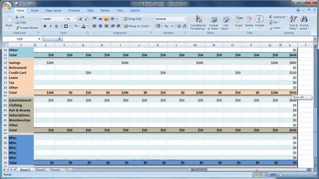007 Stirring Monthly Budget Template Excel 2007 High Definition  PersonalFull