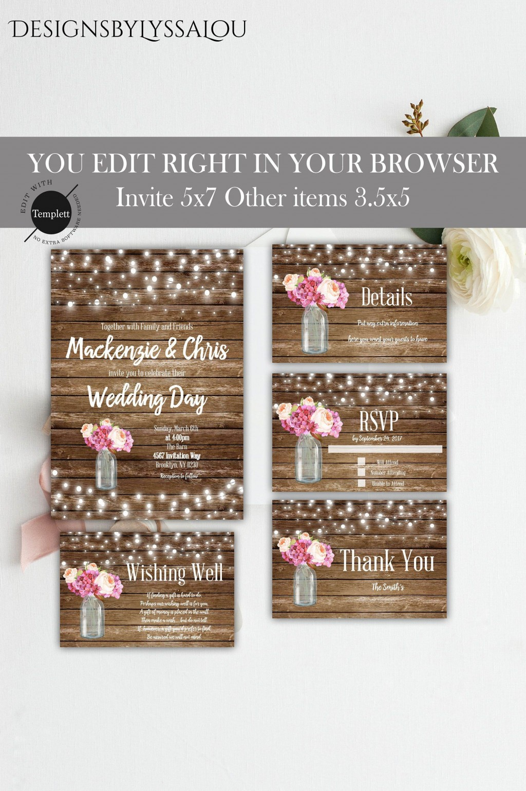 007 Stirring Rustic Wedding Invitation Template Design  Templates Free For Word Maker PhotoshopLarge