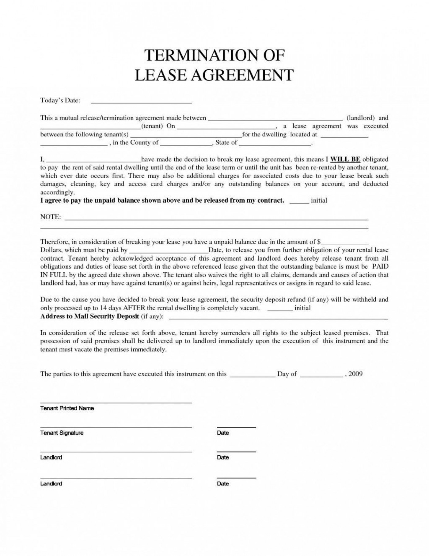 007 Stirring Template Letter To Terminate Rental Agreement High Def  End Tenancy For Landlord Ending1400