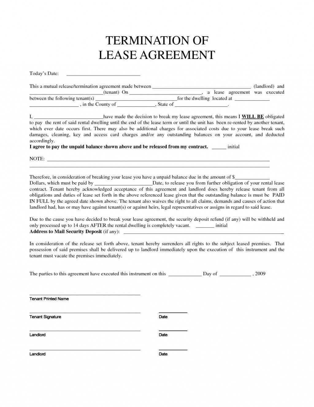 007 Stirring Template Letter To Terminate Rental Agreement High Def  End Tenancy For Landlord EndingFull