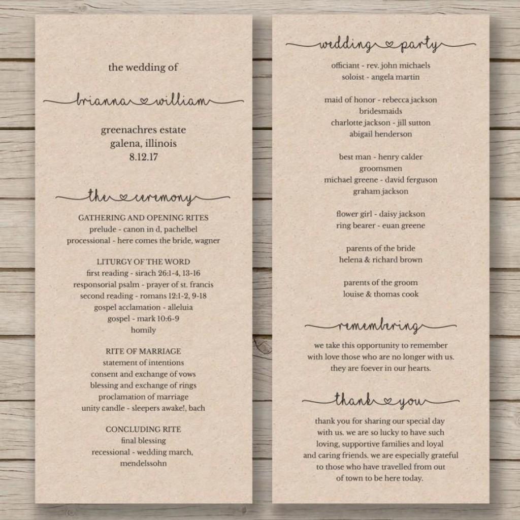 007 Stirring Wedding Order Of Service Template Word Photo  Free MicrosoftLarge