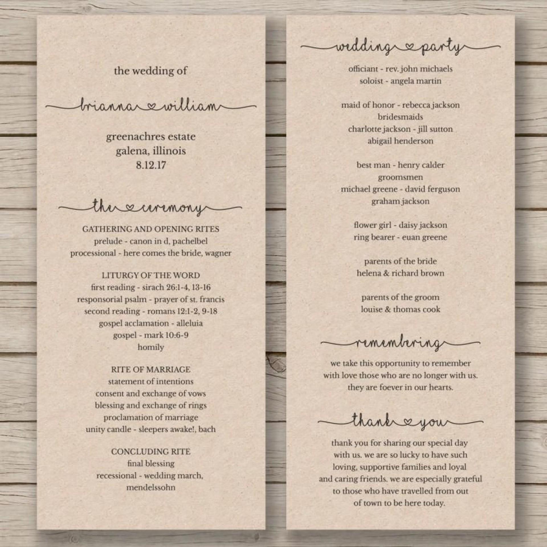 007 Stirring Wedding Order Of Service Template Word Photo  Free Microsoft1920