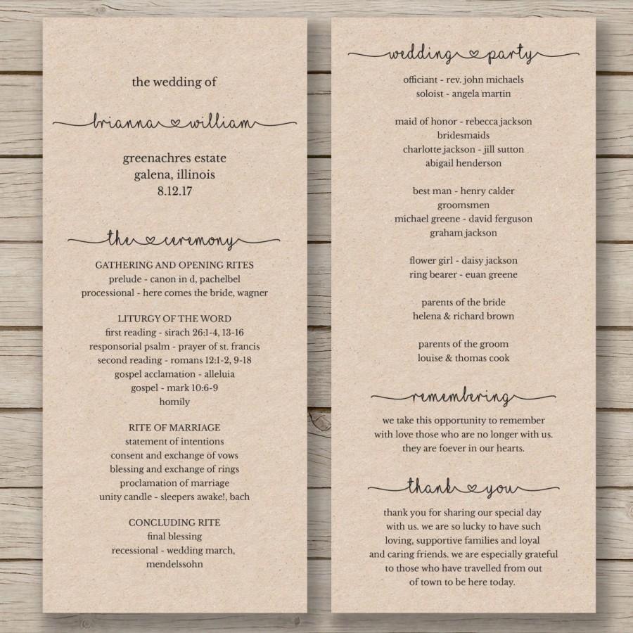 007 Stirring Wedding Order Of Service Template Word Photo  Free MicrosoftFull