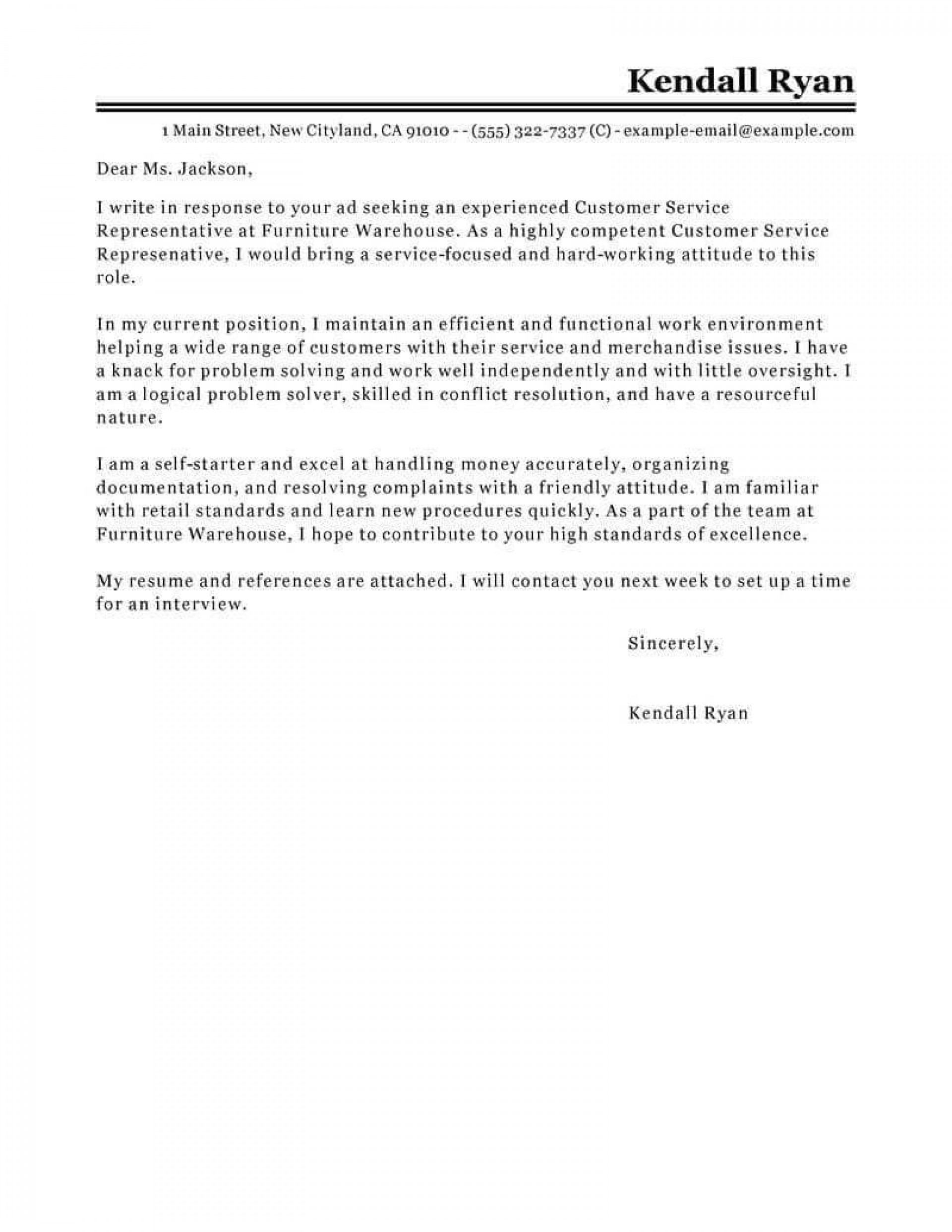 007 Striking Email Cover Letter Example For Customer Service Concept  Sample Representative1920