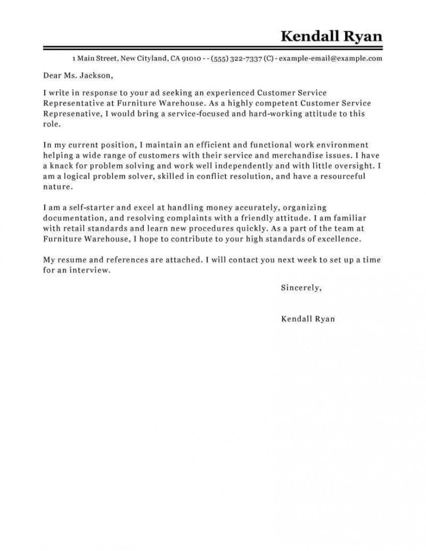 007 Striking Email Cover Letter Example For Customer Service Concept  Sample