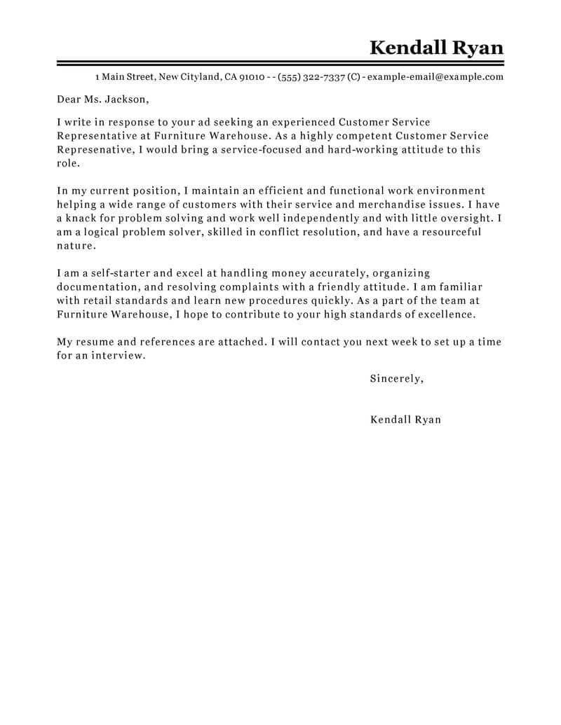 007 Striking Email Cover Letter Example For Customer Service Concept  Sample RepresentativeFull