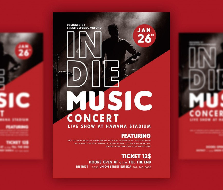 007 Striking Free Photoshop Concert Poster Template Sample  Templates