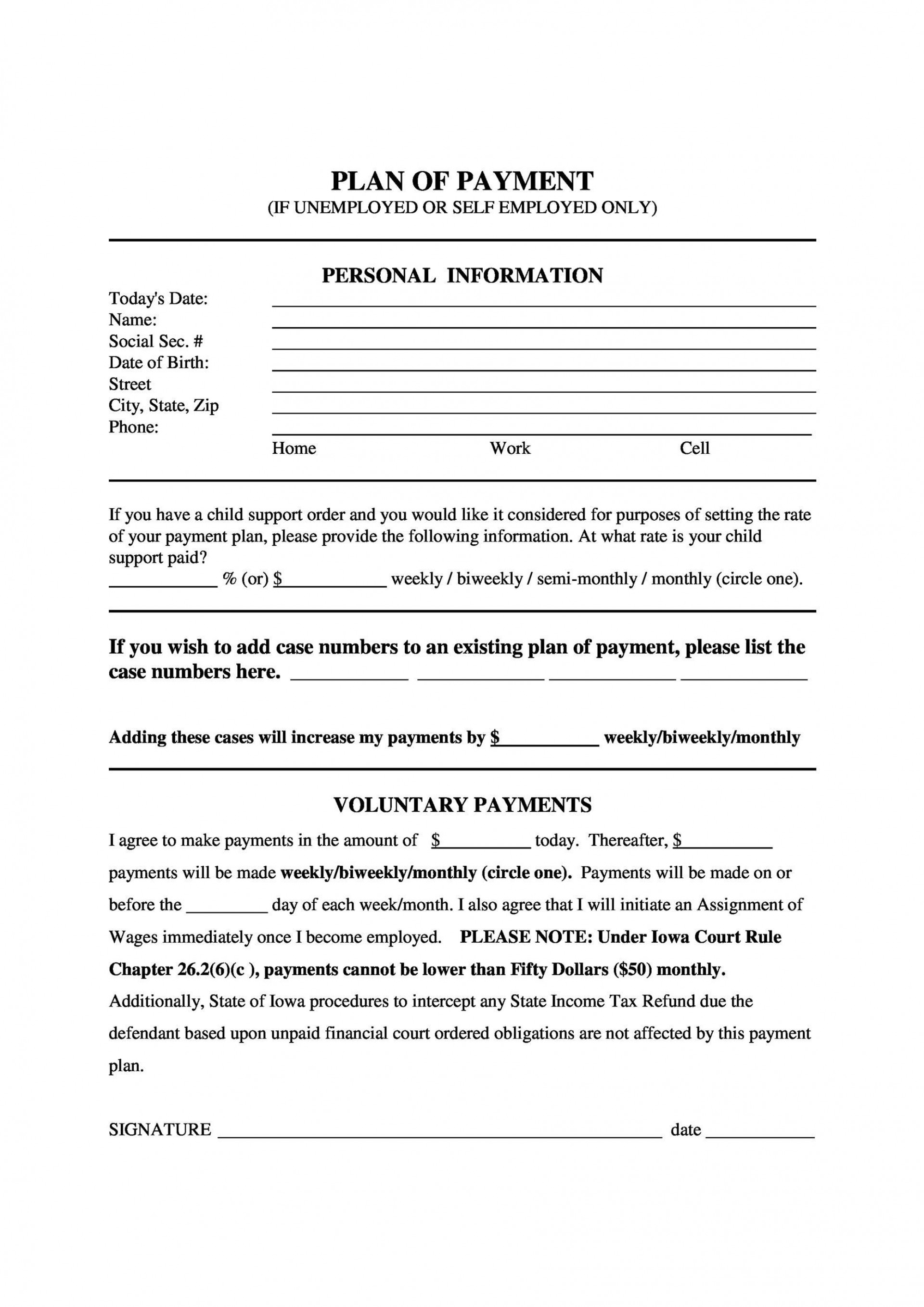 007 Striking Installment Payment Contract Template Image  Agreement Free Car Word1920
