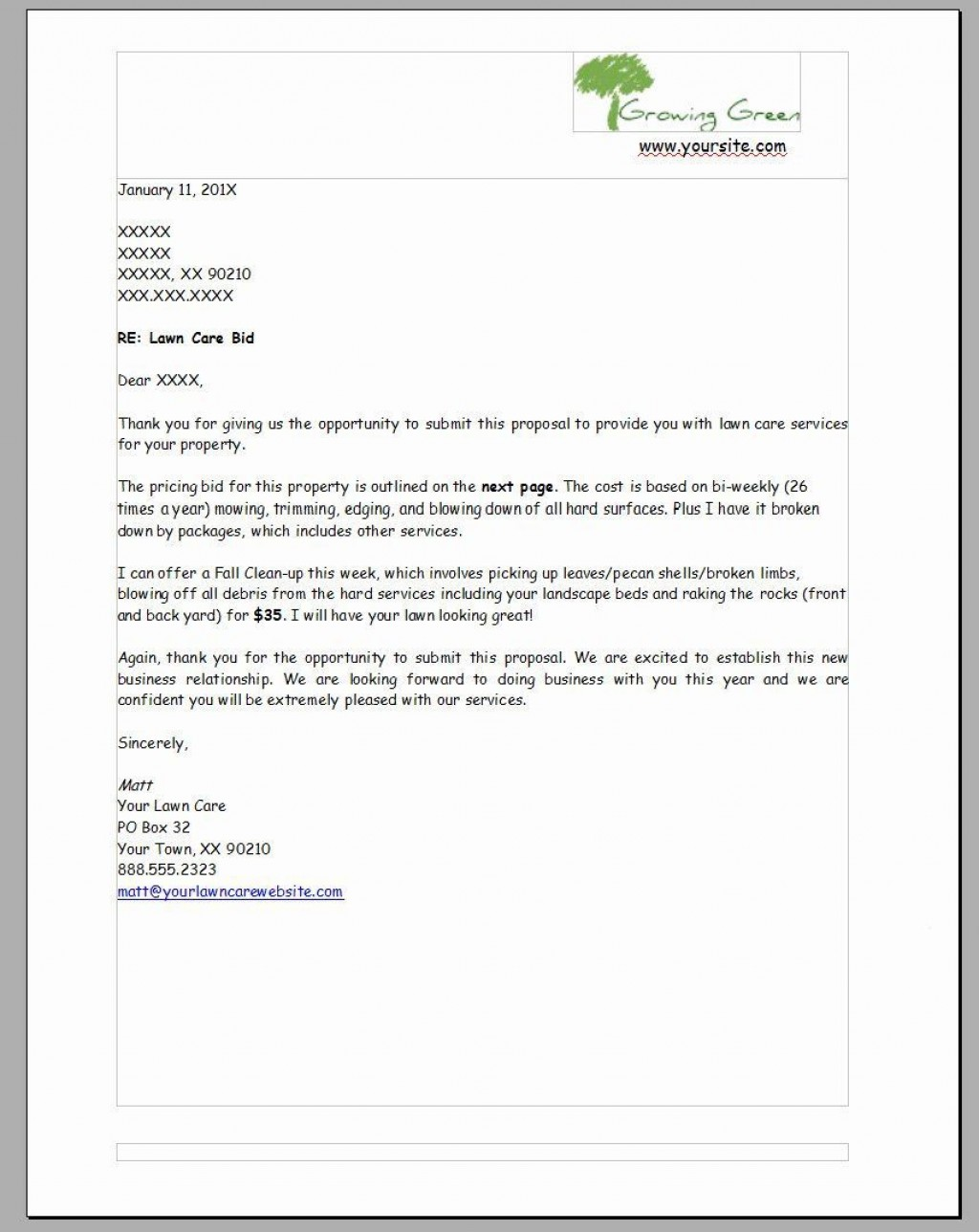 007 Striking Lawn Care Bid Template Picture  Sheet Commercial Service Proposal FreeLarge