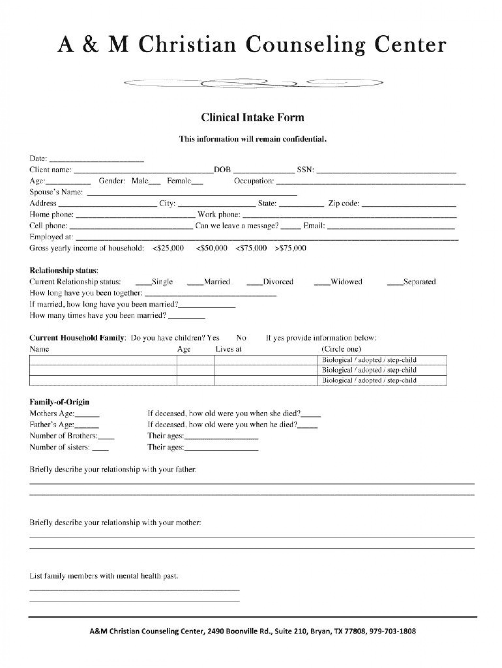 007 Striking Mental Health Intake Form Template Highest Quality  Counseling Assessment1920