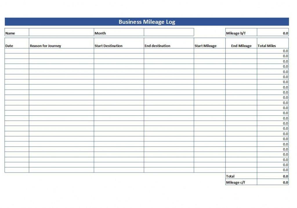 007 Striking Mileage Tracker Form Excel High Definition Large