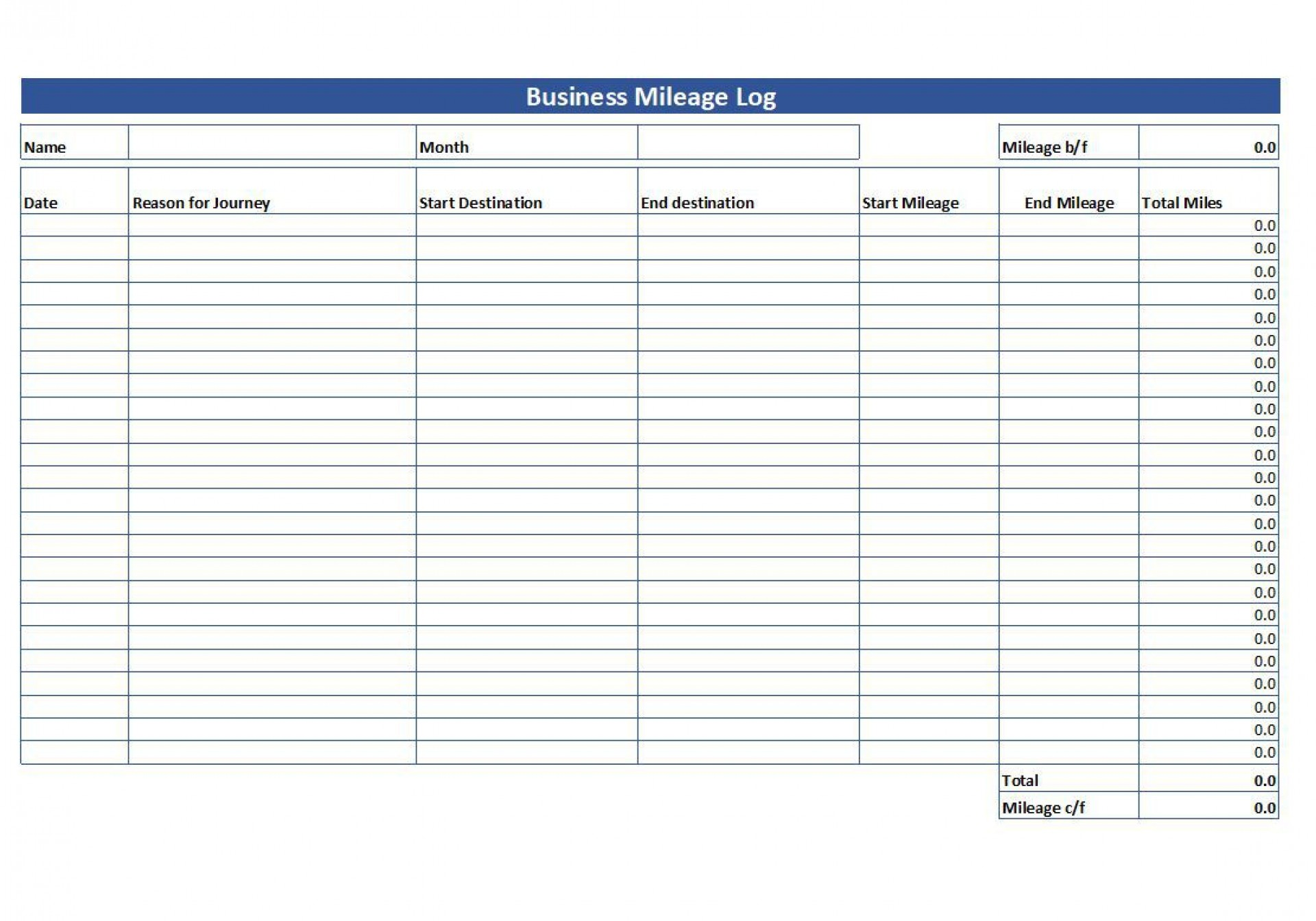 007 Striking Mileage Tracker Form Excel High Definition 1920
