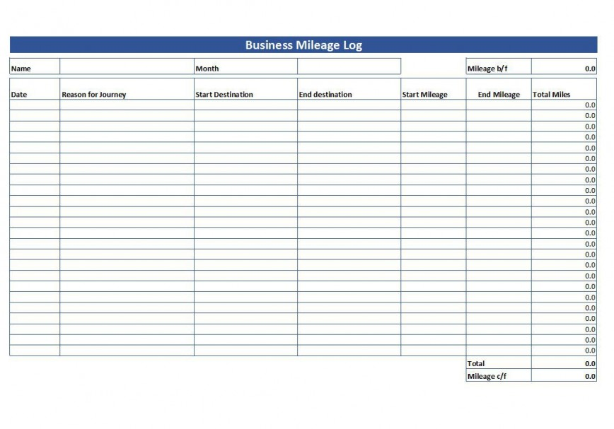 007 Striking Mileage Tracker Form Excel High Definition